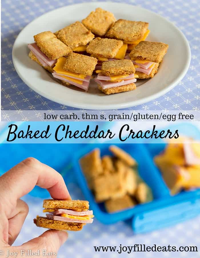 If you are missing crackers on your diet these Baked Cheddar Crackers are for you. You can even make your own Lunchables by adding some deli meat and cheese. Low carb, gluten/grain/egg free, THM S