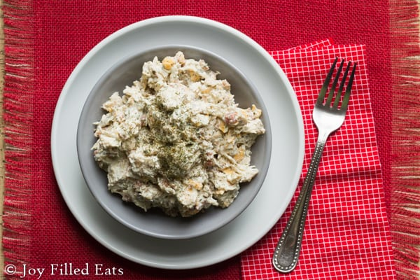 We love my Bacon Ranch Chicken Casserole so I needed to come up with a version for the warmer weather. This Chicken Salad does the trick! Low carb THM S GF