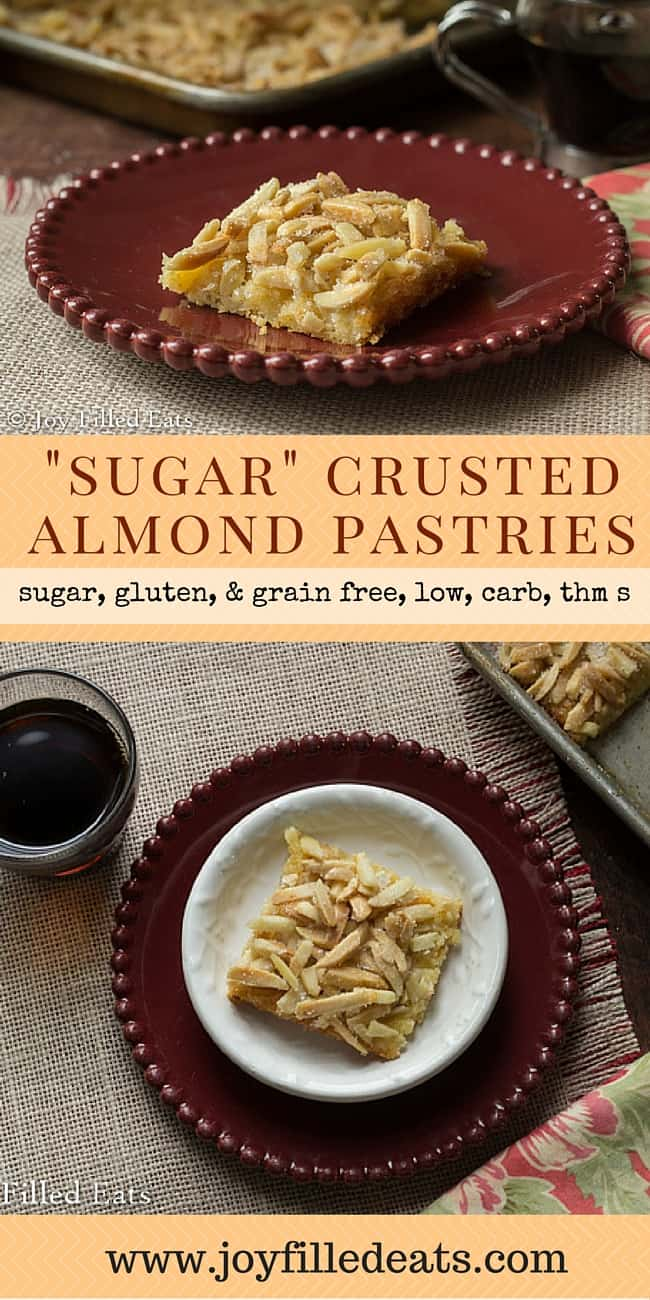 """Sugar"" Crusted Almond Pastries - Sugar Crusted Almond Pastries are an old fave. I ditched the crescent rolls & sugar and made a low carb, sugar/gluten/grain free, THM version. Success."
