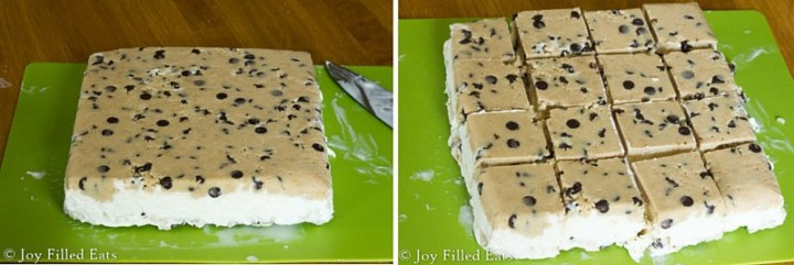 Chocolate Chip Cookie Dough Ice Cream Sandwiches cut into individual pieces on a cutting board