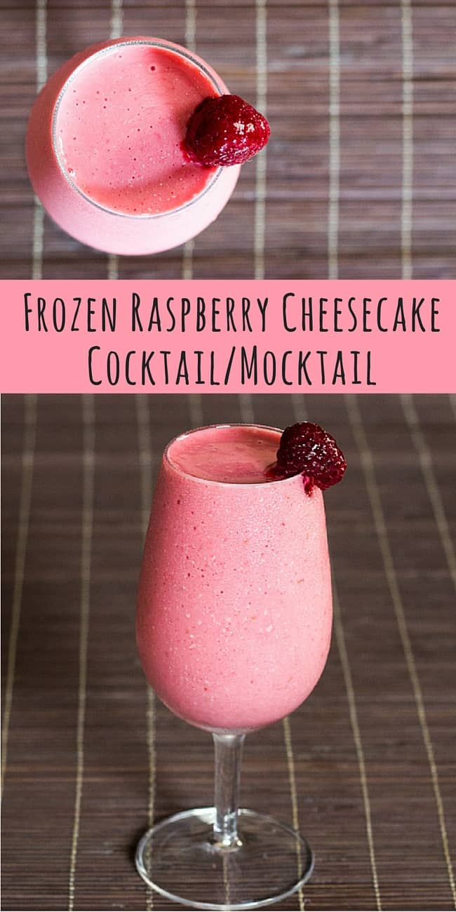 Frozen Raspberry Cheesecake Cocktail-Mocktail! Low carb, sugar free, THM S (vodka optional). Low Carb, THM S, sugar free.