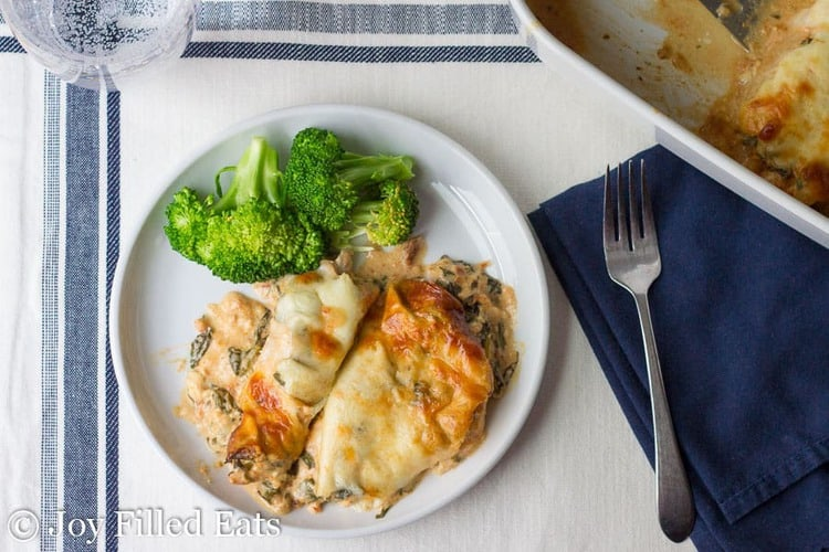 A white plate with tuscan chicken and broccoli on a blue and white placemat with a fork and blue napkin.