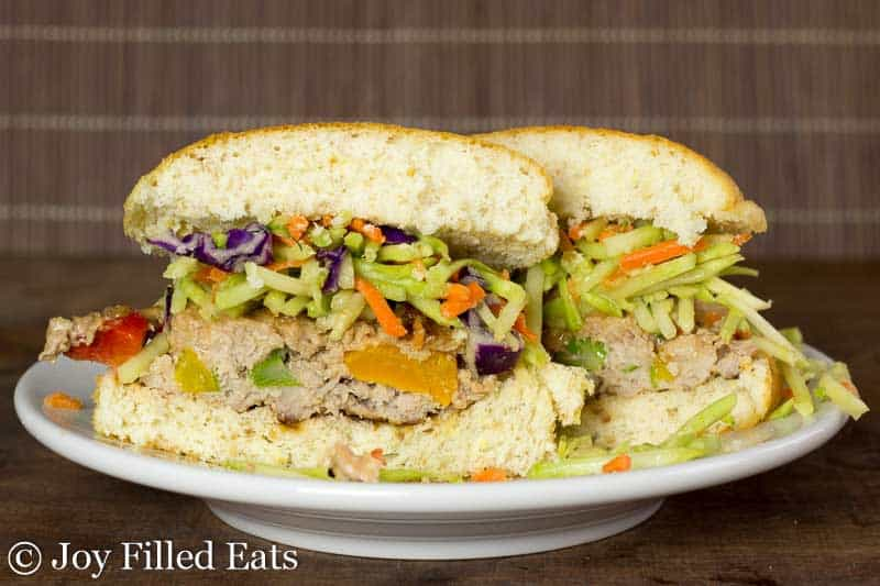 Asian Burgers with Broccoli Slaw - Low Carb, Gluten & Dairy Free, THM S