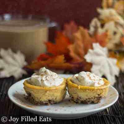 Pecan Crusted Mini Pumpkin Cheesecakes