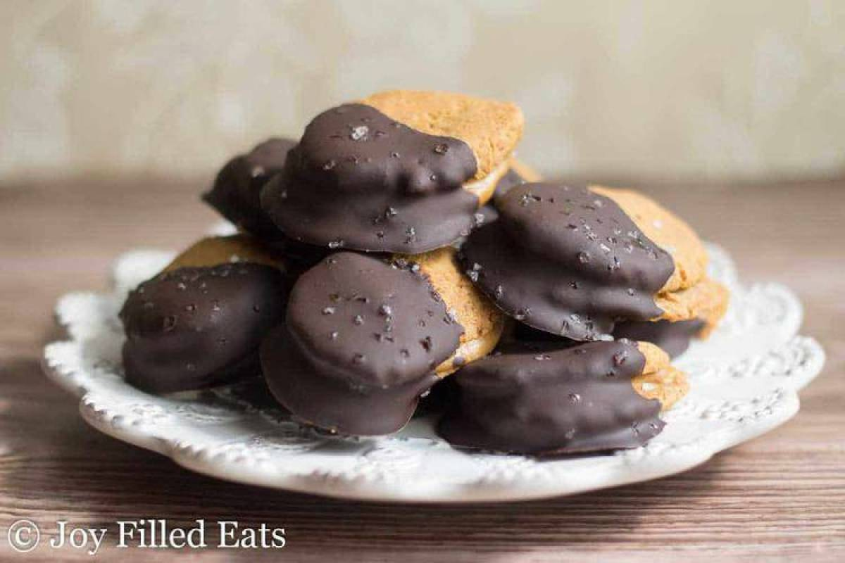Chocolate Dipped Peanut Butter Sandwich Cookies - Dairy, Grain, & Sugar Free, Low Carb, THM S