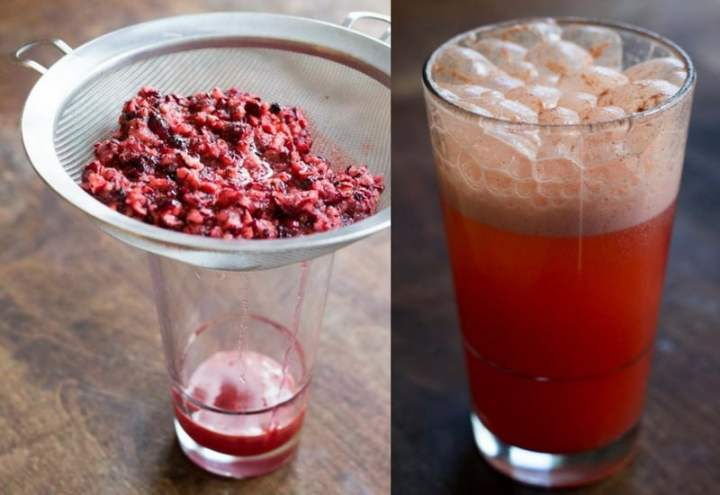 Go ahead and make yourself a cranberry soda while waiting for this to bake. Just mix the sweetened juice you drained into seltzer.