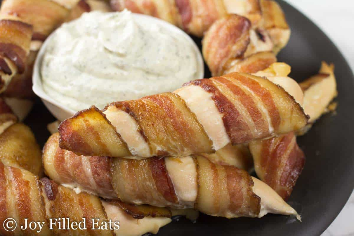 Bacon Wrapped Chicken Tenders with Ranch Dip - Low Carb, Grain Free, THM S
