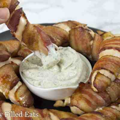 Bacon Wrapped Chicken Tenders with Ranch Dip