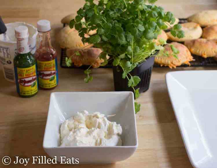 Spicy Chicken & Cheddar Empanadas with Cilantro Sour Cream - Low Carb, Grain Free, THM S