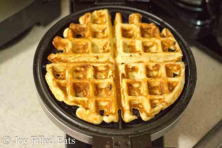 Cooked waffle on the waffle iron