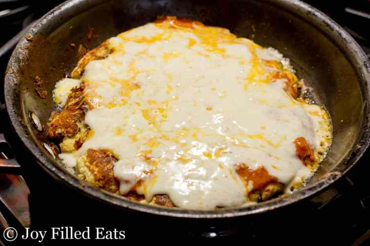 Cooked low carb pizza in a skillet