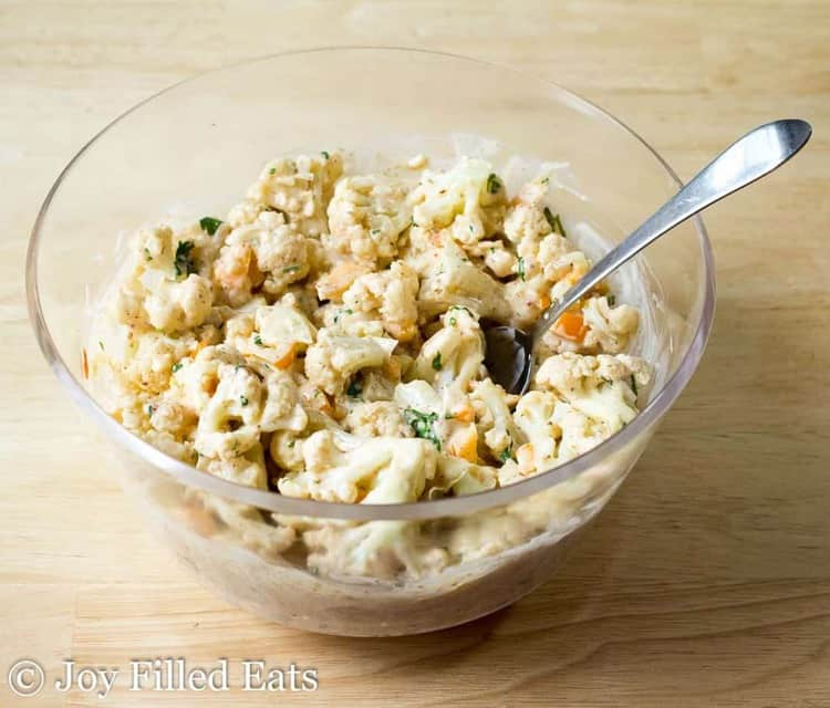 Big bowl of cauliflower salad with chipotle lime and cilantro