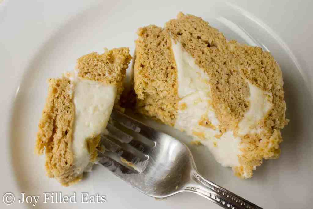 Mini Pumpkin Cake Roll with Cream Cheese Icing - Low Carb, Grain Gluten Sugar Free, THM S