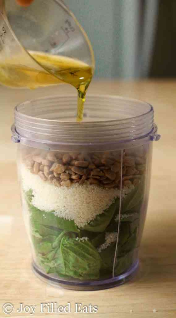 There is nothing better than whipping up a quick batch of fresh basil pesto. With four ingredients my low carb nut free pesto is ready in 5 minutes.