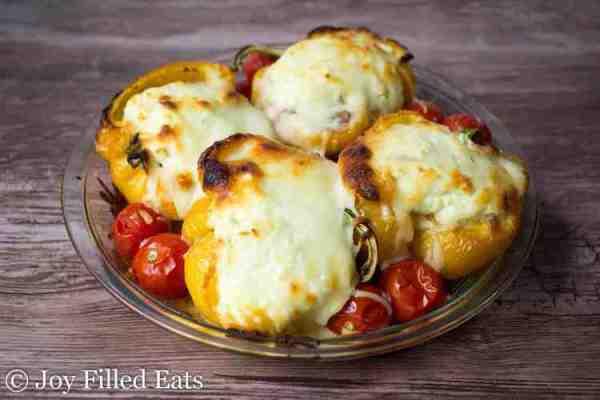 White Lasagna Stuffed Peppers - Low Carb, Grain Gluten Free, THM S, Keto