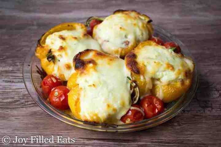 Italian Stuffed Peppers baked with browned cheese on top
