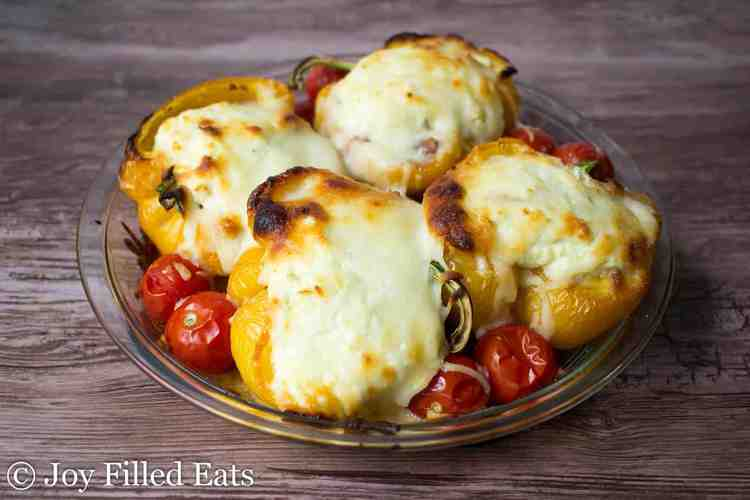 White Lasagna Stuffed Peppers baked with browned cheese on top