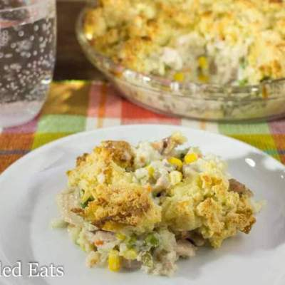 Low Carb Chicken Pot Pie with Biscuit Topping - Grain & Gluten Free, THM S, Keto