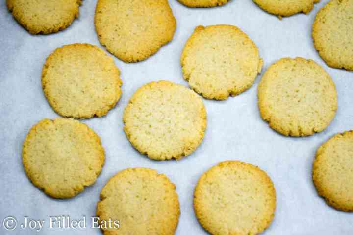baked almond flour cookies on parchment paper