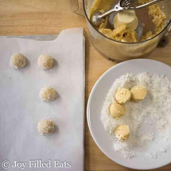 Dough, dough balls, and shredded coconut