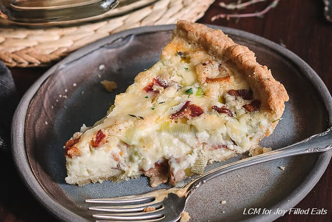 Low Carb Quiche with Bacon & Leeks - Grain & Gluten Free, Keto, THM S