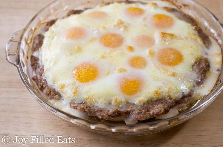 Par-baked Breakfast Egg & Sausage Pie waiting for some cheese.