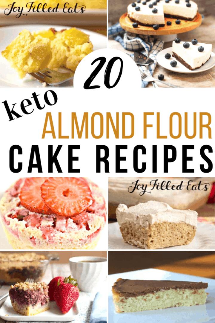 collage of photos of almond flour cake recipes
