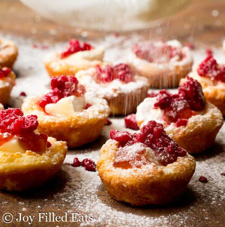 Powdered sweetener being sprinkled on top of the Brie Appetizer Bites with Raspberry