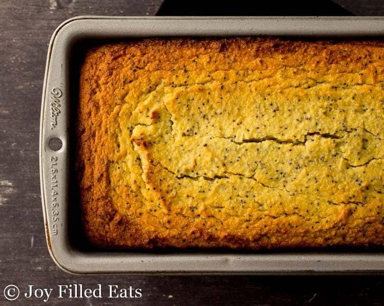 Lemon Poppy Seed Loaf Cake baked in a loaf pan