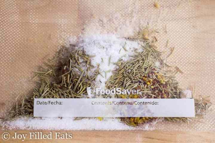 FoodSaver bag with herbs and salt
