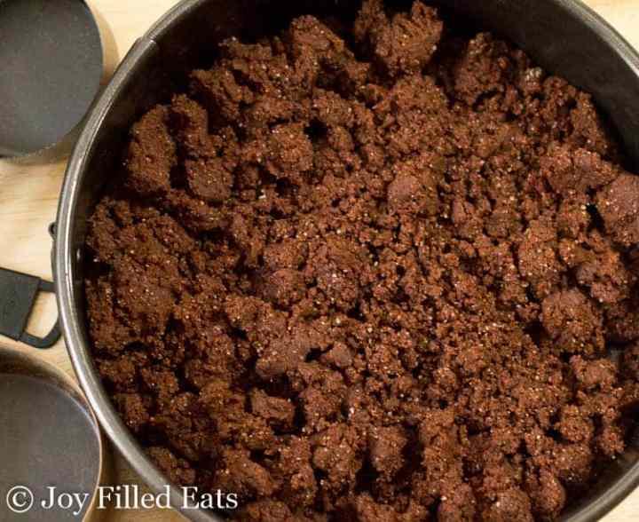 Brownie batter crust in a springform pan