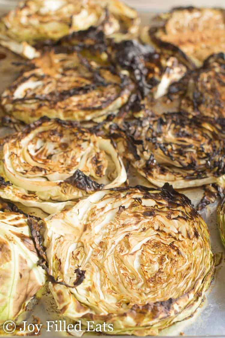 Roasted Cabbage Steaks with Balsamic on a large metal baking sheet
