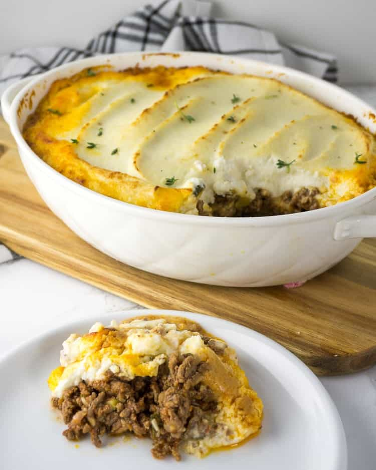 low carb Shepherd's Pie on a white plate