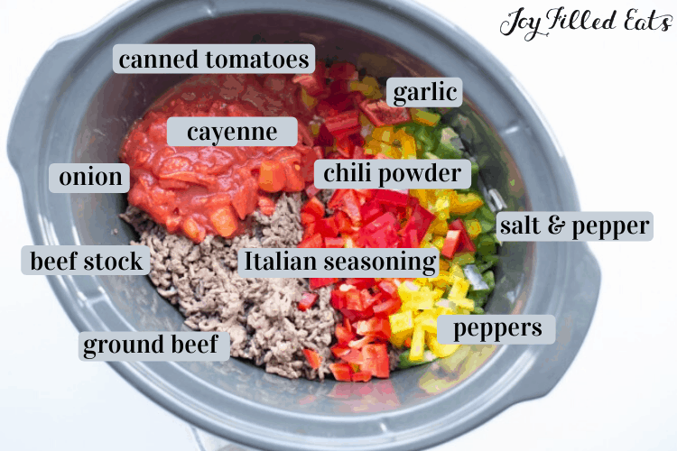 ingredients for the keto chili recipe