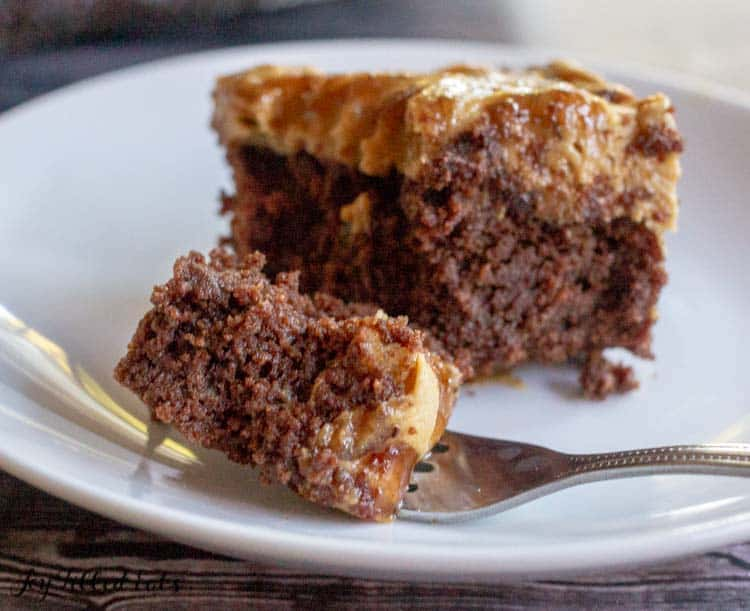 a bite of keto brownies on a fork