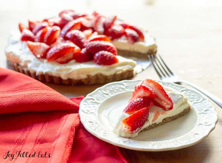 slice of the strawberry tart on a plate