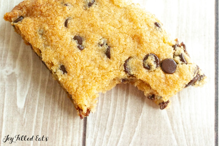 a cookie bar with a bite missing