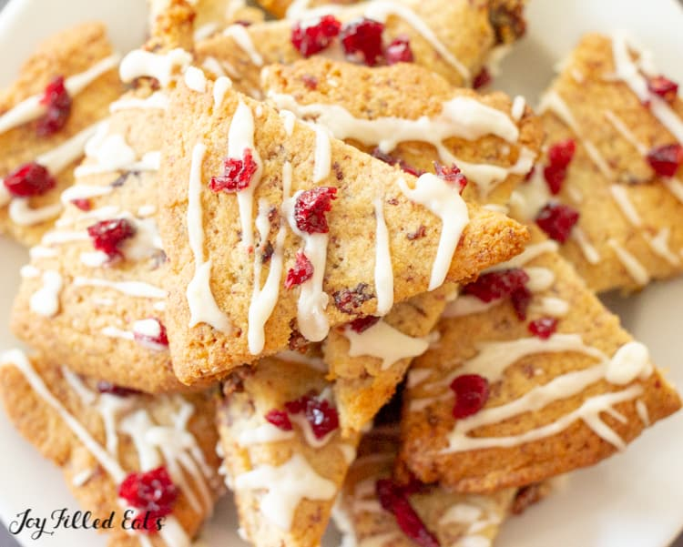 close up of the cranberry cookies with lemon drizzle
