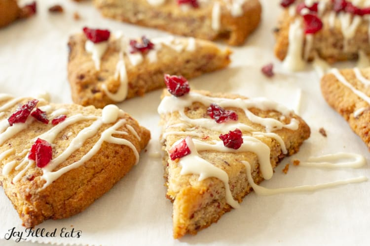 Lemon Drizzle Cranberry Cookies on waxed paper