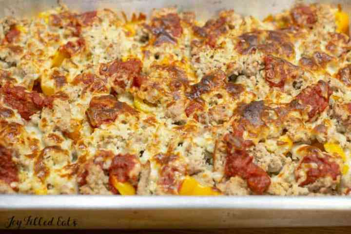 the baked stuffed pepper casserole topped with browned cheese