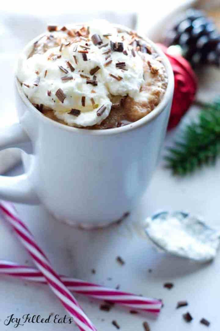 peppermint mocha latte in a mug