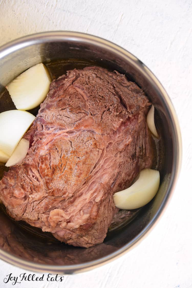 seared beef roast in the instant pot bowl