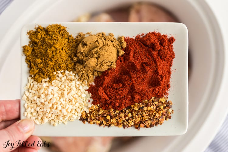 a white plate with the spices for the chicken tikka masala recipe