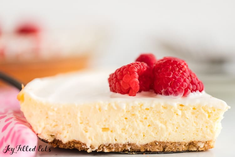 close up of a slice from the lemon cheesecake recipe