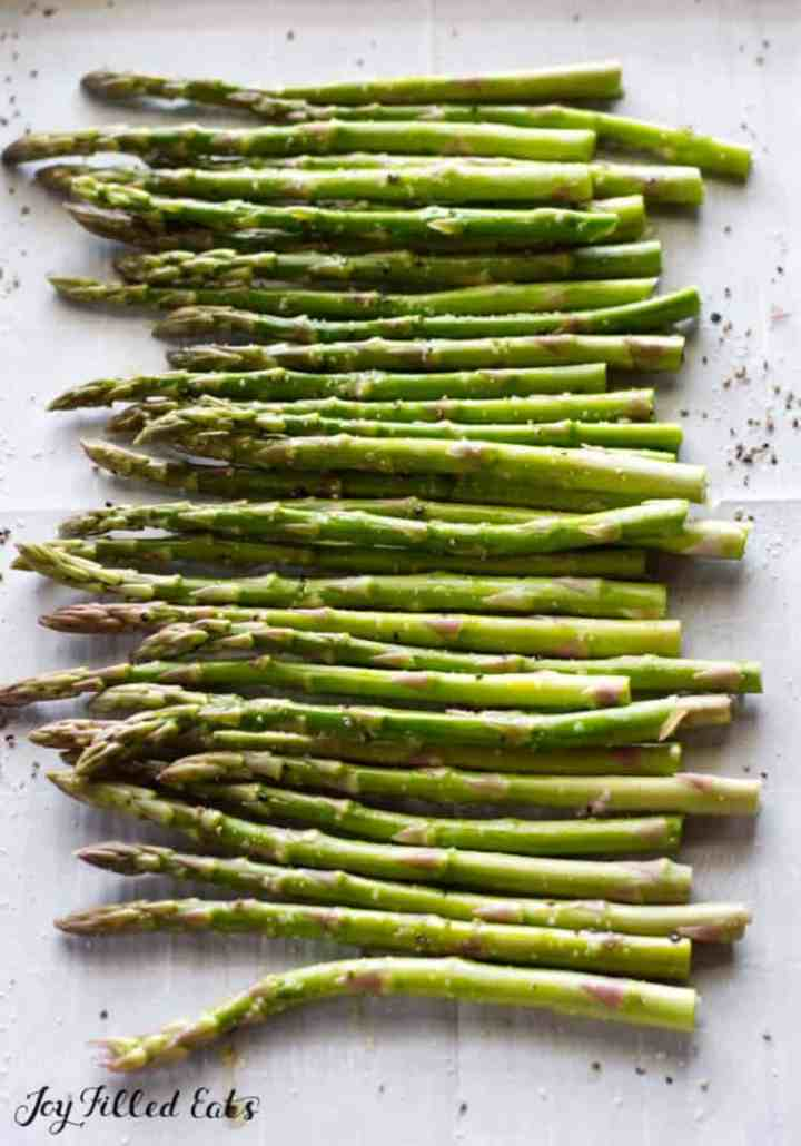 Asparagus ready to go into the oven.