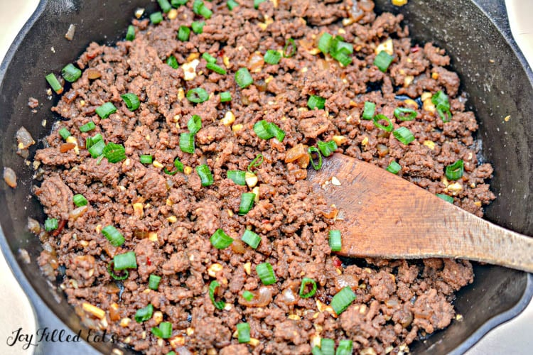 the finished ground beef filling for the Asian lettuce wraps in a large skillet
