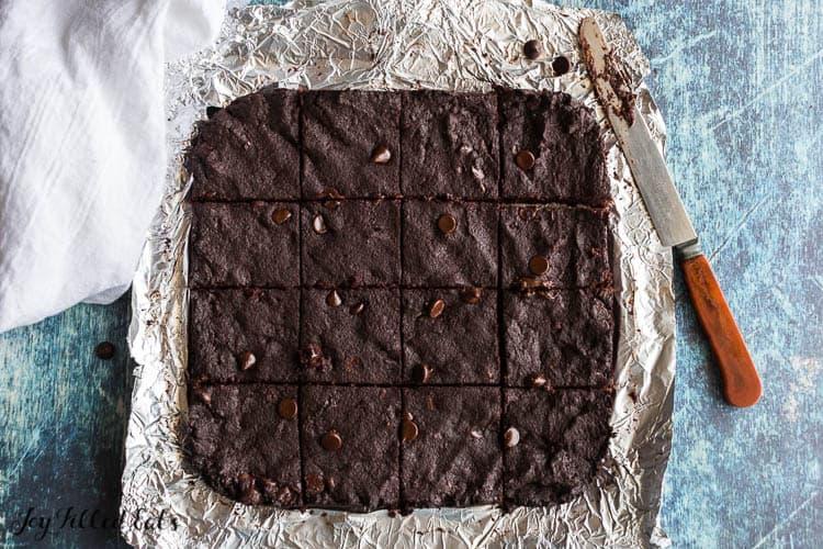 cut brownies on foil