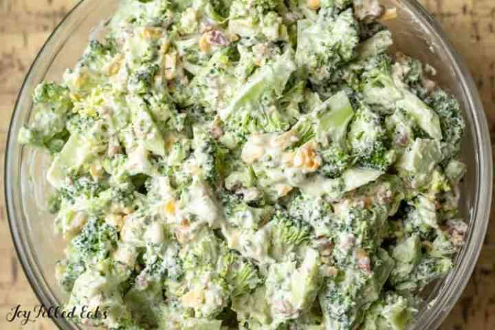 overhead close up of healthy broccoli salad with bacon and cheddar