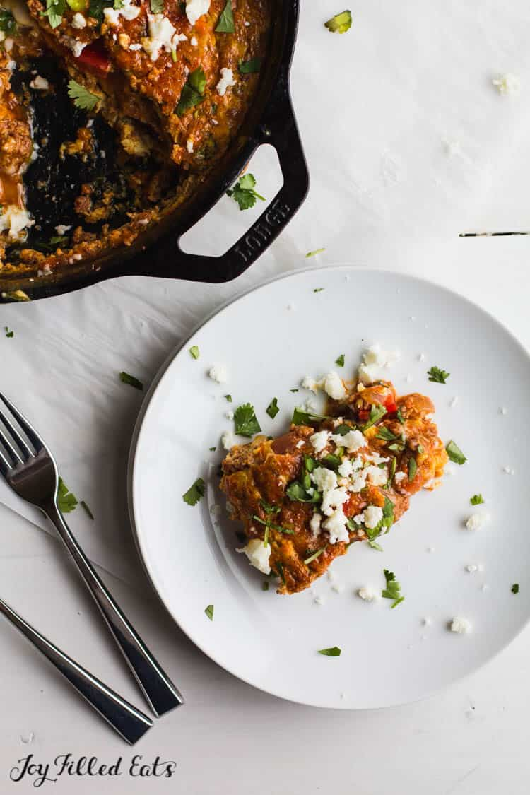 a piece of keto frittata with chorizo on a white plate sprinkled with extra queso fresco