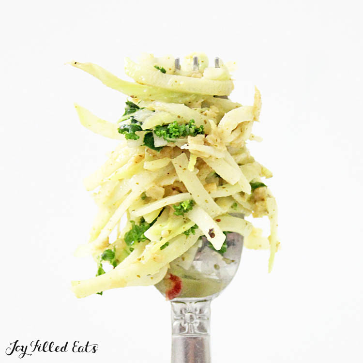 kohlrabi salad on a fork